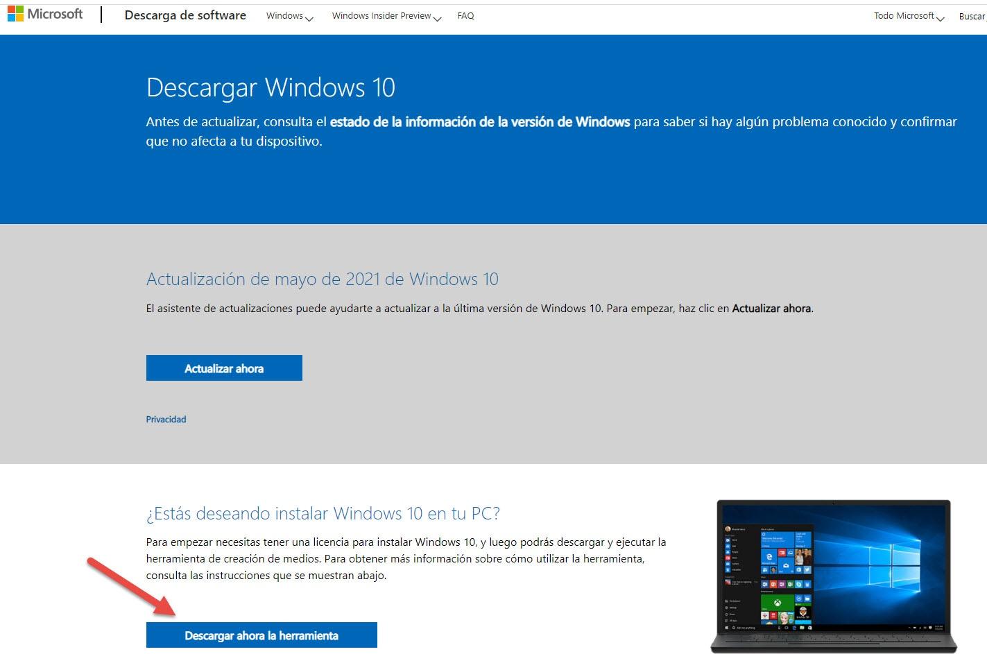 descargar la herramienta de windows 10
