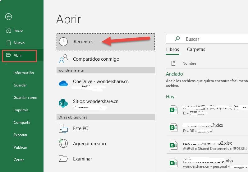 recuperación de archivos de Excel paso 1
