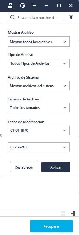 filtro de archivos