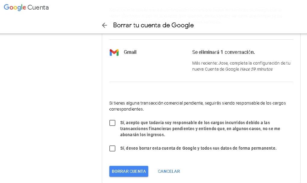 ¿Cómo borrar una cuenta de Gmail?: confirmación