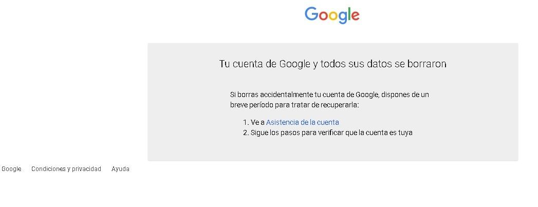 ¿Cómo borrar una cuenta de Gmail?: borrado exitoso.
