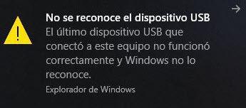 Dispositivo USB no reconocido en Windows 10