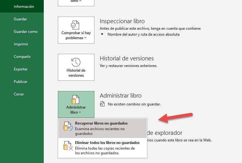 recuperación de archivos de Excel paso 3