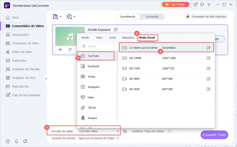 seleccionar formato de salida de video