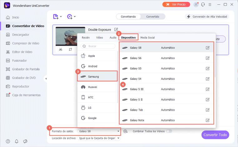 elegir samsung como formato de salida