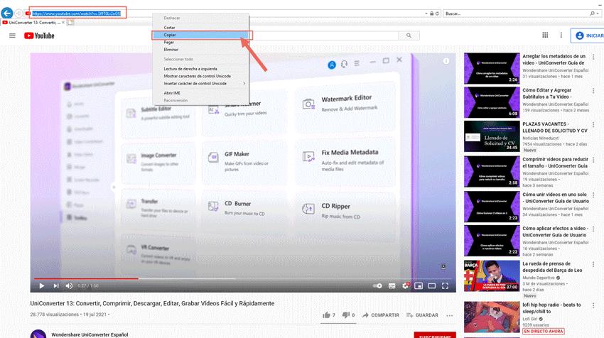 Encuentra el video de YouTube y copia la URL