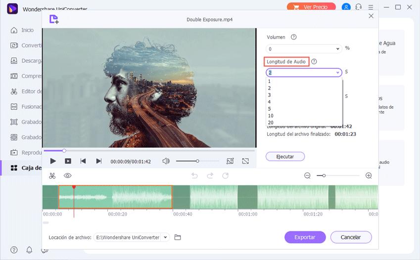 Establecer la duración del audio para extraer clips