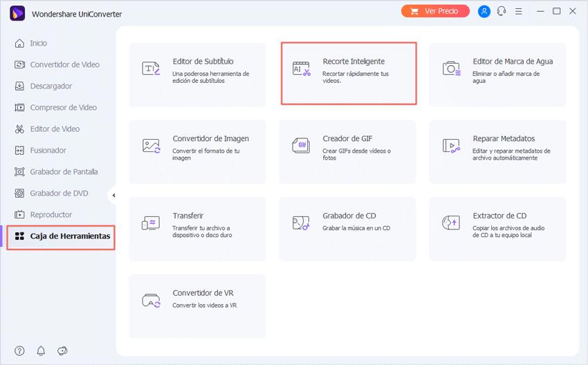 Abrir la caja de herramientas en UniConverter