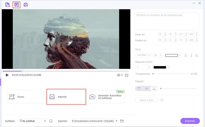 Importar archivos de subtítulos para editar